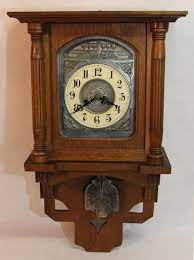 german oak steel junghans wall clock