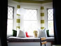 Fine White Bowl Pendant Light Over Bay Windows Seating Added Dark And White Window  Seat Cushions In Small Spaces Corner Living Room Ideas