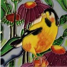 What is the one thing that comes to mind for a classic vibe, pick a yellow and burgundy wall sticker showing bird cages hanging down from tree branches. Buy Chickadee Bird With Cone Flowers Decorative Ceramic Wall Art Tile 4x4 Online At Low Prices In India Amazon In