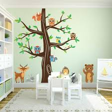 owl tree wall decals woodland animals wall tree nursery decal playroom tree  decal forest animals bear . owl tree wall decals ...