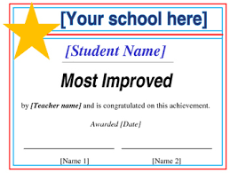 Most Improved Certificate Editable