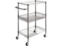 alera alesw342416ba three tier wire rolling cart 28w x 16d x 39h black anthracite