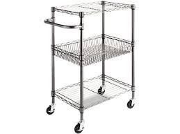alera alesw342416ba three tier wire rolling cart 28w x 16d x 39h black