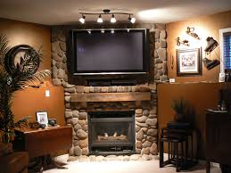 fascinating dimgrey fireplace mantel lights cool brown wall paint color background rustic stoned wooden shelf undulating faux stone