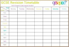 Revision Schedule Template Time Table Template Revision Timetable Template Us Timetable