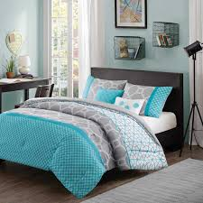 Blue Concrete Wall Brown Wooden Bed White Bed Linen With Grey ... & Blue Concrete Wall Brown Wooden Bed White Bed Linen With Grey Pillow And  Quilt With Blue Striped Brown Wooden Desk And Chair Brown Wooden Floor With  Grey ... Adamdwight.com