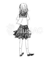 女子高生のモノクロのイラストイラスト No 353342無料イラストなら