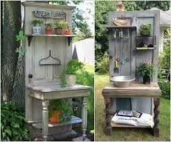 if gardening is your favorite hobby then build a potting bench from an old door