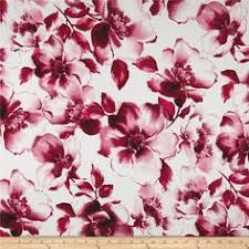 Pink Carnation, Black and White <b>Floral Striped</b> Stretch Cotton Twill ...