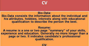 Resume Cv Difference Website Professional Difference Biodata Resume