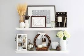 simple stepy fall shelf decor