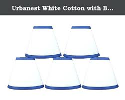 blue glass chandelier shades pendant navy lamp shade urbanest white cotton with trim 6 inch lighting