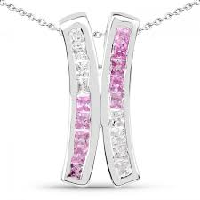 1 08 carat genuine pink sapphire and white sapphire 925 sterling silver pendant