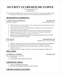 Security Supervisor Resume Cool Security Guard Resumes 60 Free Word PDF Format Download Free