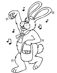 Easter Bunny Coloring Page An Singing Easter Bunny With His Basket