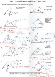 angle bisectors worksheet with answers