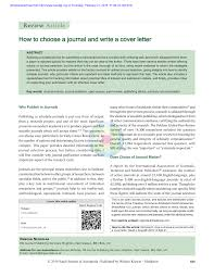 How To Write A Cover Letter For A Journal Pdf How To Choose A Journal And Write A Cover Letter