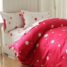 cute cartoon polka dot bed set twin full kids plush cotton comfortable red white home