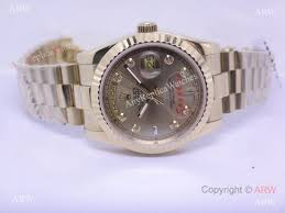 aaa quality replica rolex day date yellow gold watch men size 36mm rolex day date watch gold diamond marker men size 3 th jpg