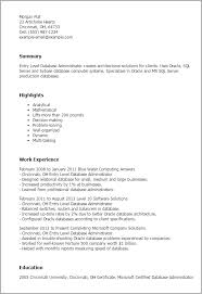 Sql Server Experience Resumes Entry Level Database Administrator Resume Submission