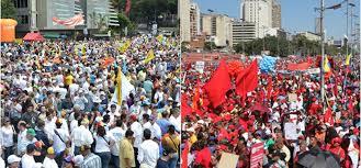 Resultado de imagen para chavistas y oposición frente a frente