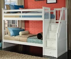 NE Kids School House Staircase Bunk Bed in White Model 7090