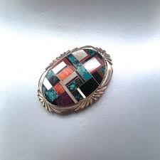best western vintage 80s silver buckle 1980s zuni native american style mosaic jewelry sterling