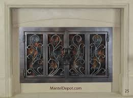 hand forged iron fireplace doors fd025 from mantel depot for best iron fireplace doors