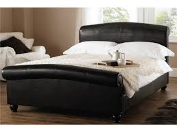 leather sleigh bed look very classy and elegant humarthome the best home design