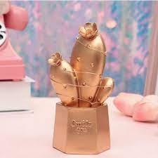 Led Işıklı Sevimli Kaktüs Dekoratif Masa Lambası Mini Biblo Gece Lambası  Gold