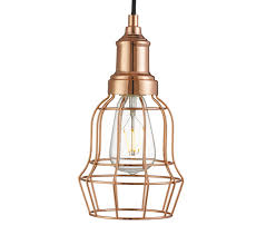 searchlight bell cage 1 light pendant ceiling light copper finish 6847cu
