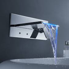 color changing led waterfall bathroom sink faucet wall mount at faucetsdeal com