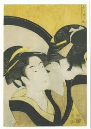 kitagawa utamaro hairdressing. kitagawa utamaro. woman seen from the back. (黒ネコ) utamaro hairdressing