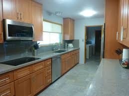 beech wood kitchen cabinets: natural beech wood shaker galley sink wall after craftsman kitchen