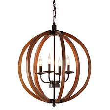 rustic orb chandelier showcases distressed wood in oil rubbed bronze finish hanging round ceiling pendant lamp provides ample lighting