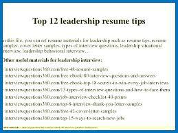 Leadership Resume Interesting Resume Leadership Skills Leadership Skills Resume Examples Top Free