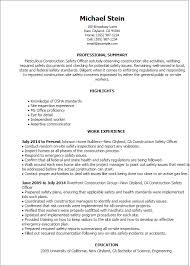 Safety Officer Resume Sample 1 Construction Safety Officer Resume Templates Try Them Now