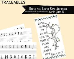 Hand Doodled Font Alphabet Traceable Calligraphy Journaling