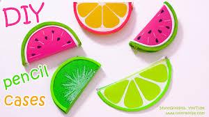 diy pencil cases fruits watermelon lemon kiwifruit no sew diy school supplies you