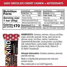 amazon kind bars dark chocolate cherry cashew antioxidants gluten free 1 4oz 12 count breakfast snack bars grocery gourmet food