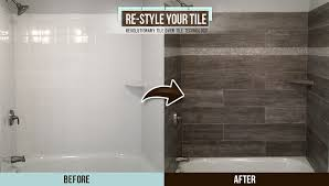 before and after picture of a dust and demolition free quick bathroom remodel