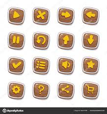 set of 16 wooden icons in frames isolated on white background for game user interface mobile app vector elements template in cartoon style