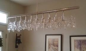 diy custom modern linear chandelier with hanging crystal and stainless steel shades ideas