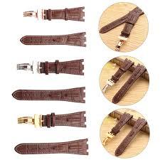 28mm brown white line soft leather watch band for audemars plguet royal oak offs