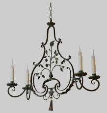 antique wrought iron chandelier french wrought iron green painted four arm chandelier