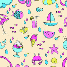 Summer Pattern Awesome Cute Summer Pattern Seamless Vector Free Vector In Adobe Illustrator