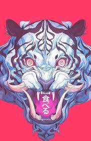 Hd Wallpaper Blue And Black Lion Mask Tiger Demon