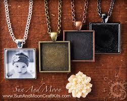 diy kit keepsake photo pendant and photo necklace kit large diy blank pendant kit with rings