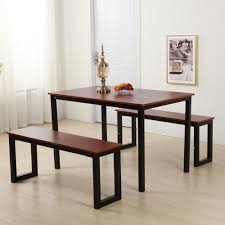 Modern Dining Table With Two Benches3 Piece Set Kitchen Steel Frame