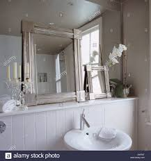 Bathroom Framed Mirrors Contemporary White Bathroom With Smaller Framed Mirrors Leaning